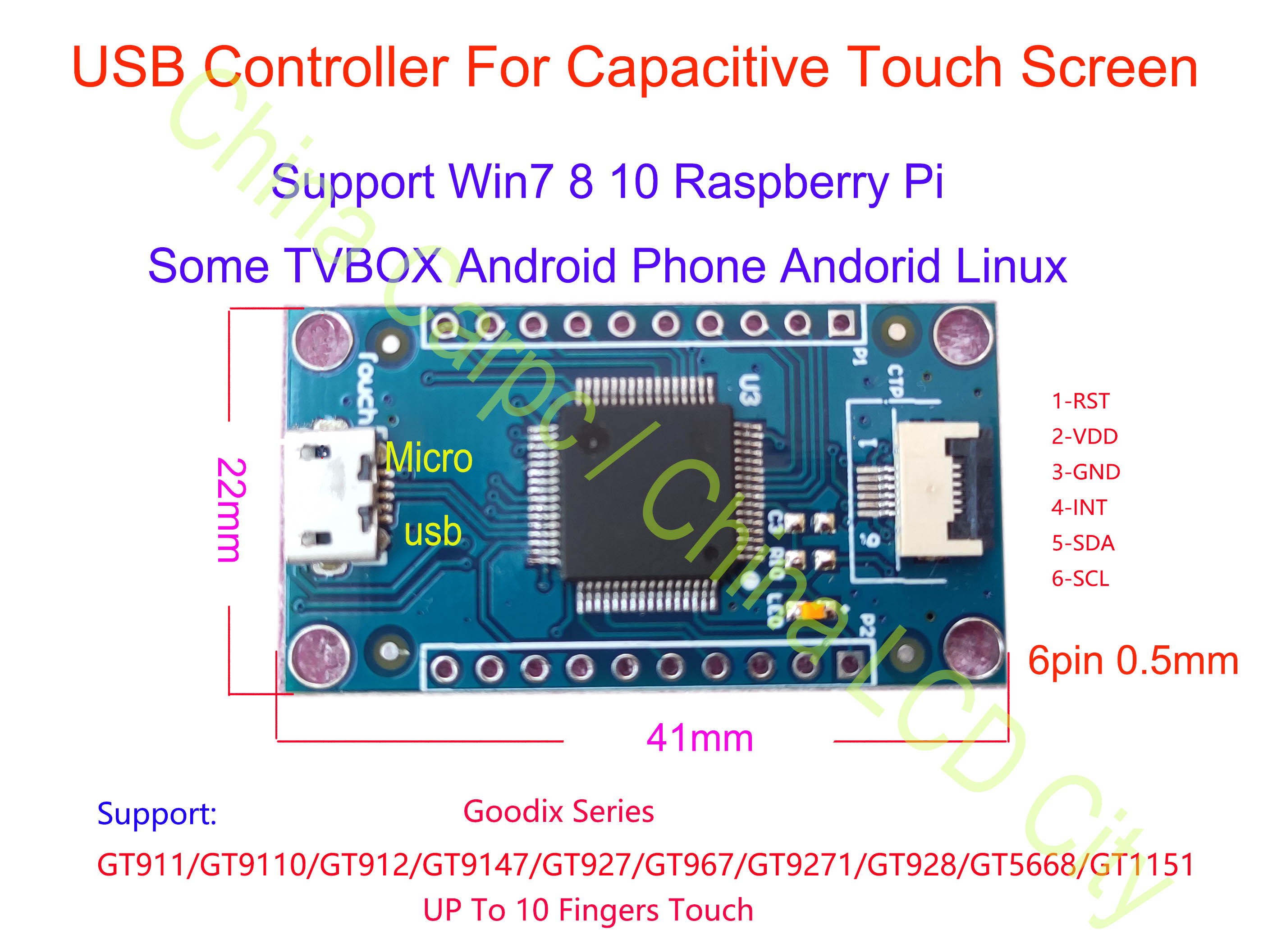 USB Controller For Capacitive Touch Screen GT911/GT910/GT912/GT928/GT9271/GT9110/GT5668/GT1151/GT967/GT9147 Win8 10 Raspberry Pi