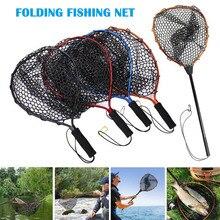 Portable Fishing Net Aluminum Alloy Pole Retractable Telescoping Foldable Landing Rubber Net for Fly PVA Fishing Network SD669