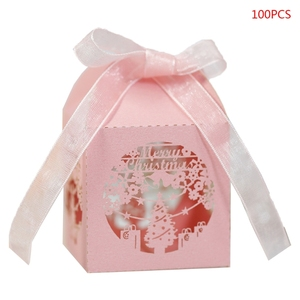 100pcs Christmas Snowflake Hollow Favor Gift Candy Box Storage with Ribbon Baby Shower Wedding Party Supplies