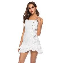 Besikom Elegant Spaghetti Strap White Summer Dress Women Slash Neck Ruffle Hem Sleeveless Casual Women Party Dreses 2019 цена и фото