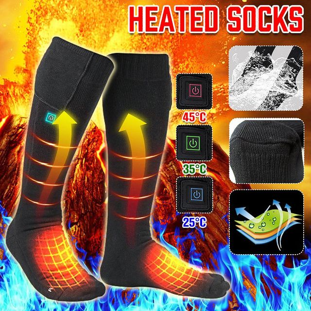 3 Adjustable Electric Heated Socks Men Women Skiing Heated Socks For Camping Hiking Winter Snowboard Socks Rechargeable Battery