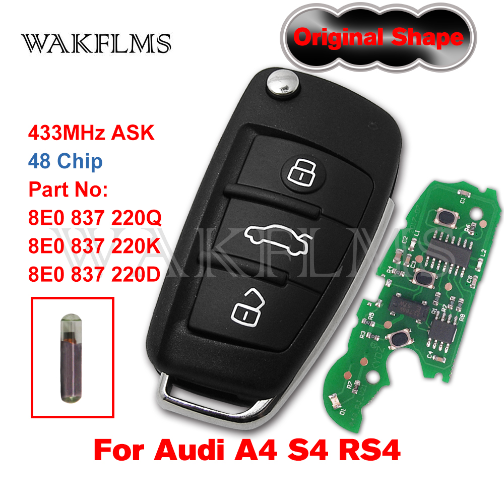 Для AUDI A2 A4 S4 Cabrio Quattro Avant 2005 2006 2007 2008 433 МГц ID48 откидной дистанционный ключ-брелок от машины 8E0837220Q 8E0837220K 8E0837220D