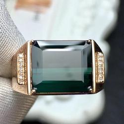 Fine Jewelry prawdziwa czysta 18 K złota biżuteria 100% naturalny zielony turmalin Gemstones 5.65ct diamenty męskie ślubne Fine Man's Rings