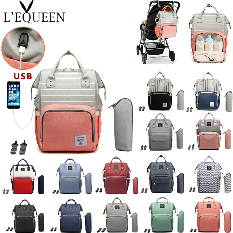 Lequeen Baby Diaper Bag With USB Interface Mummy Maternity Bag Large Capacity Travel Backpack Waterproof Nursing Nappy Bag