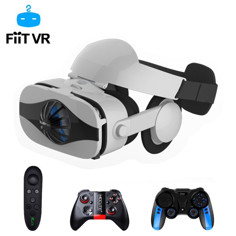 Fiit 5F Viar Helmet 3D VR Glasses Virtual Reality Headset For iPhone Android Smartphone Goggle Casque Smart Phone 3 D Lenses Set