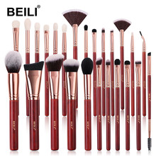 BEILI Professional Face Makeup Brushes Red Eyeshadow Blush Foundation Goat Hair Blending Makeup Brush Set pedzle do makijazu