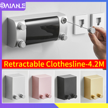 Retractable Clothesline Indoor Outdoor Drying Rack ABS Plastic Balcony Invisible Hanger Laundry Dryer Double Rope