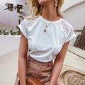 Simplee Casual solide Spitze nähen baumwolle frauen T-shirt sommer aushöhlen ärmeln oansatz weibliche tops freizeit Grundlegende T-shirt neue
