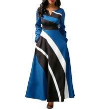 Сексуальное бальное платье макси в полоску с v образным вырезом