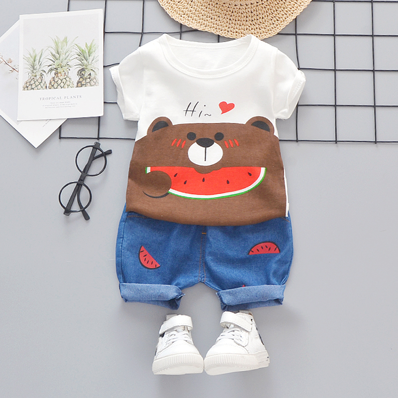 Baby Summer Clothes Boys Girls Set Cartoon White Toddler Kids Outfits 1 2 3 4 Years Cotton Children Holiday Short Kits