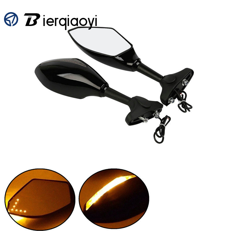 Motorcycle Rearview Side Mirrors With LED Turn Signal Indicators Retroviseur Clignotants For <font><b>Honda</b></font> <font><b>CBR</b></font> 250 <font><b>600F</b></font> 900RR 1000 RR image