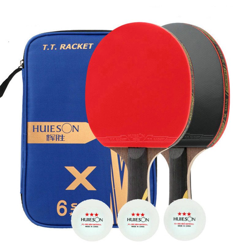 Huieson Table Tennis Racket With 3 Table Tennis Balls Super Powerful Ping Pong Racket With Cover 3/5/6 Star Table Tennis Rackets