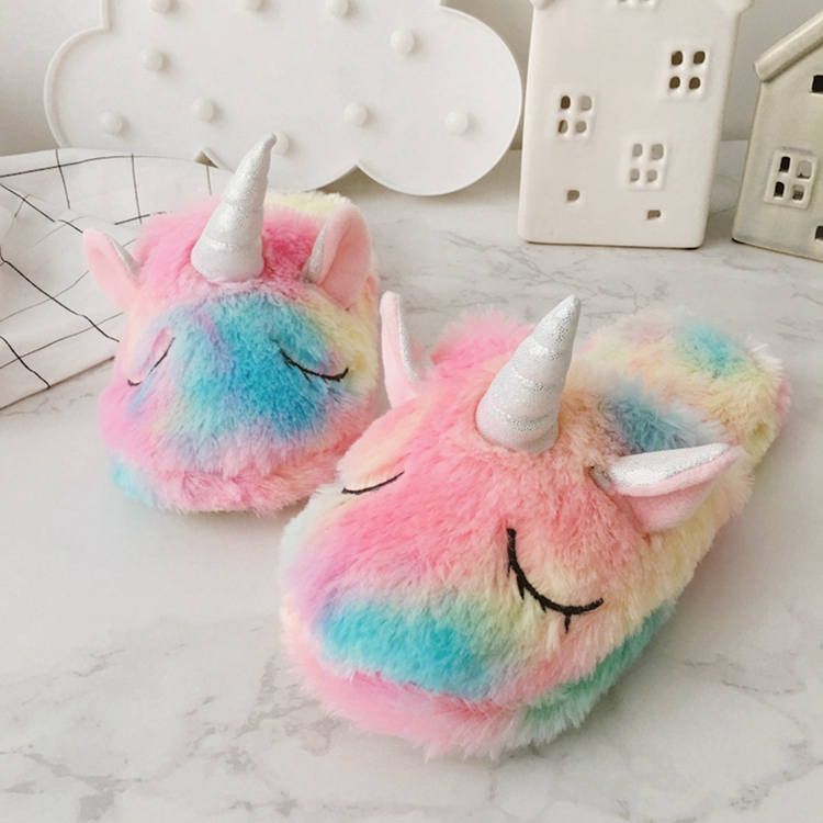 2019 New Cute Colorful Velvet Unicorn Plush Shoes Women Home Indoor Winter Rainbow Unicorn Slippers Waterproof Non-slip Shoes