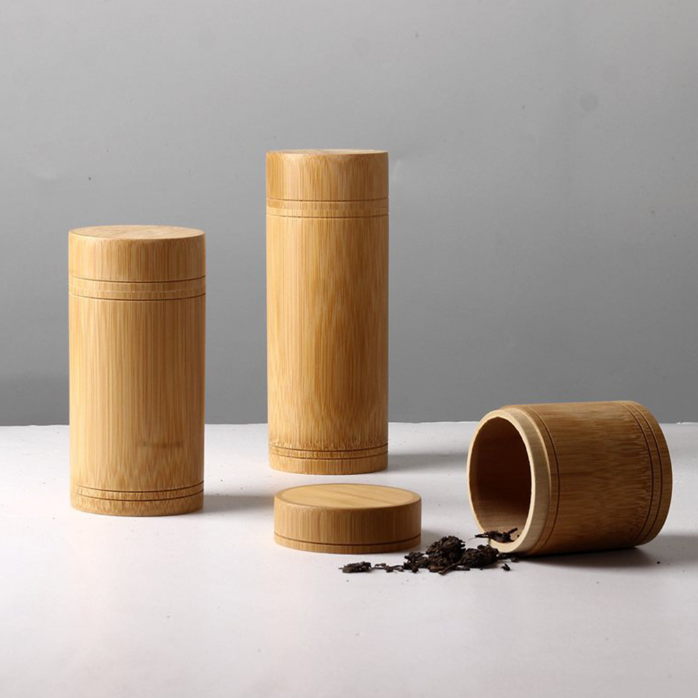 Eco-Friendly Jar Portable Tea Canister Lid Handmade Container Bamboo Storage Box Holder High Quality And Durable Unique Designed