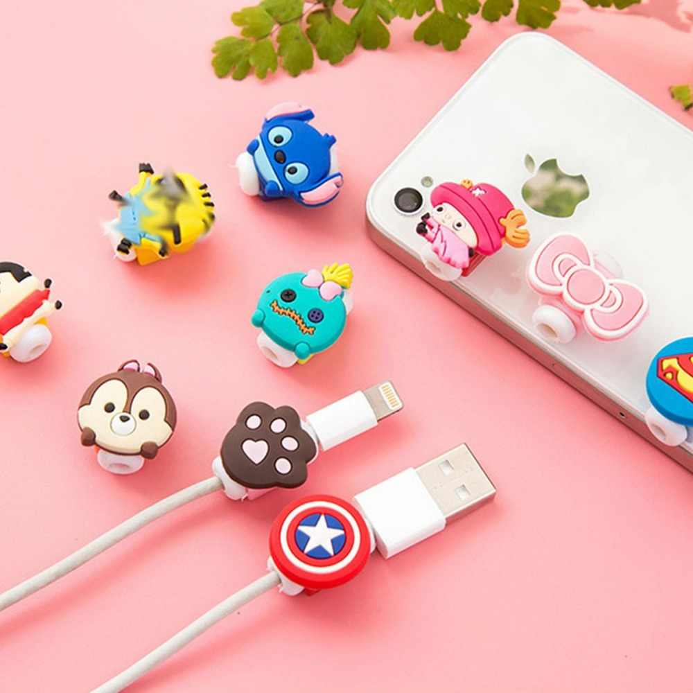 Lovely Cartoon Charger Cable Winder Protective Case Saver 8 Pin Data line Protector Earphone Cord Protection Sleeve Wire Cover