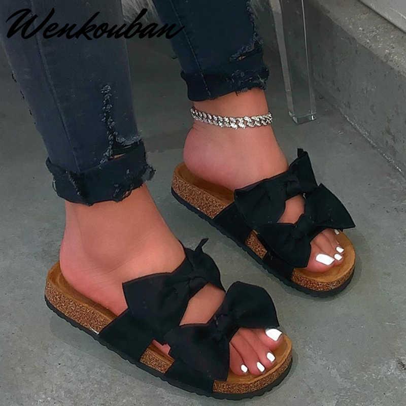 2020 женские сандалии летние сандалии на плоской подошве Удобная Нескользящая пляжная обувь в стиле ретро с бантиком обувь на платформе размера плюс Zapatos Mujer