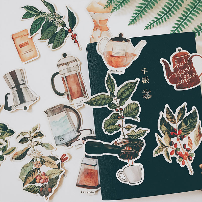 14PCS Coffee Soul Stickers Crafts And Scrapbooking Stickers Book Student Label Decorative Sticker DIY Stationery