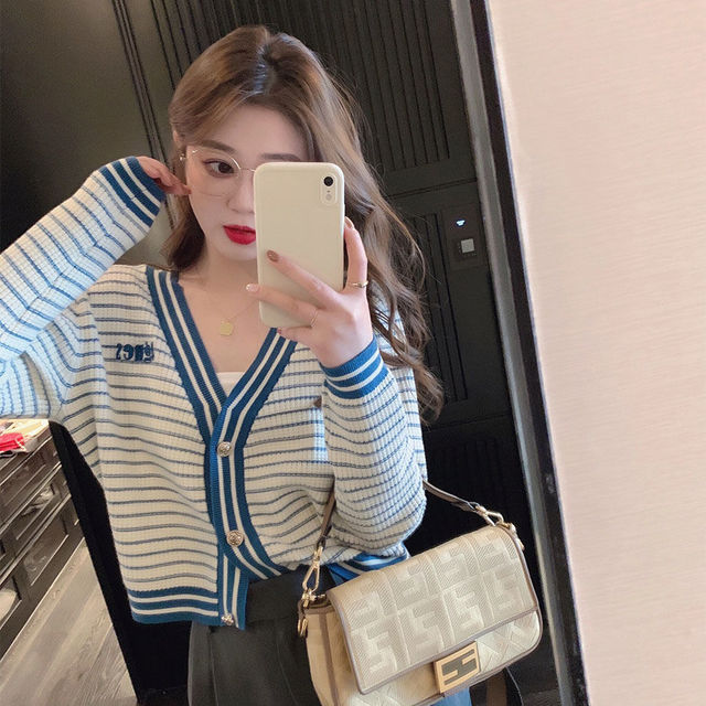 Jacket Women's fashion spring and summer short knitted cardigan blue and white stripe 2021 new loose Korean versatile trend