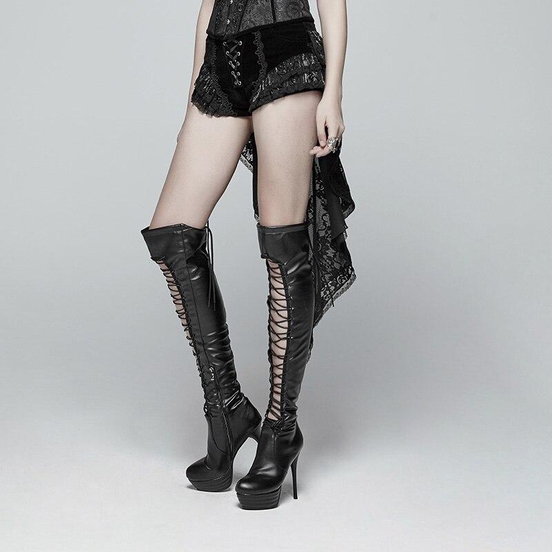 Панк RAVEwomen готические шорты ласточкин хвост шорты модные ретро шнуровка викторианские сексуальные дворцовые шорты для выступлений - 2