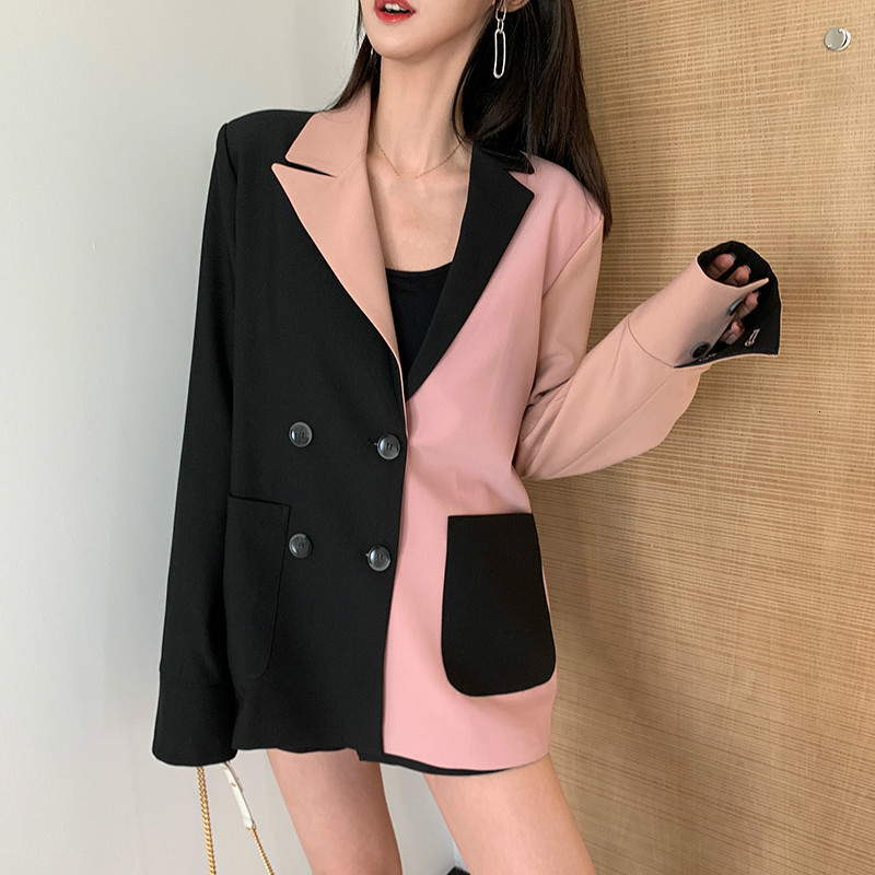 LANMREM 2020 Spring Fahison New Famale's Blazers Hit Color Patchwork Double-breasted Casual LooseTemperament Coat Vintage PC399