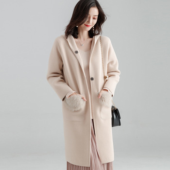 Fishion Office Lady Hooded Long Woolen Winter Coats Women Covered Button Wool Coat And Jacket Loose Pockets Solid Ladies Coats 4