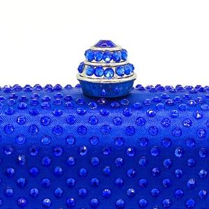 Image 2 - Boutique De FGG królewskie niebieskie cyrkonie sprzęgła damskie torby wieczorowe torebka ślubna wesele kryształowa torebka łańcuszkowa torba na ramię