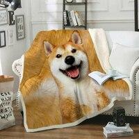 Dogs Series Throw Blanket 3D Printed Cotton Velveteen Plush For Sofa Bed Velvet Sherpa Fleece Blanket Bedspread Microfiber Cover