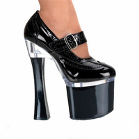 new arrival Pole Dance women Single shoes18cm thick High heels Round Toe Buckle Black Fashion Ultrafine catwalk shoe woman