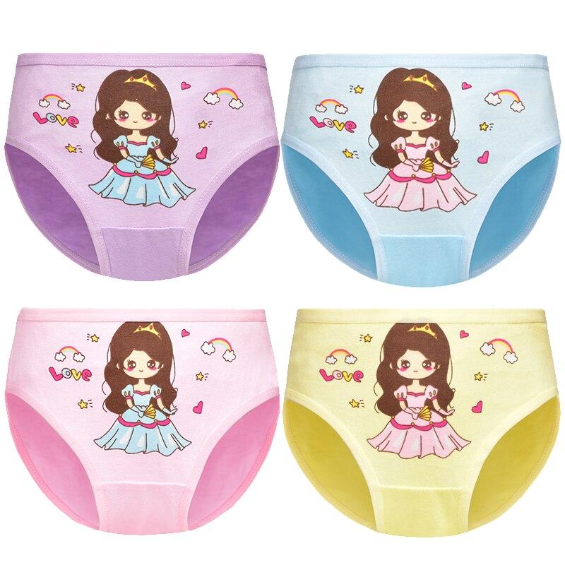 4 PCS /Lot Girls Panties Soft Cotton Children Underwear Cartoon Baby Girls Briefs Beautiful Girl Underpants Kids Triangle Panty
