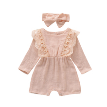 Baby Girls Clothes Autumn Bodysuit Infants Long Sleeve Romper Headband 0-24M Set for Girl Clothing