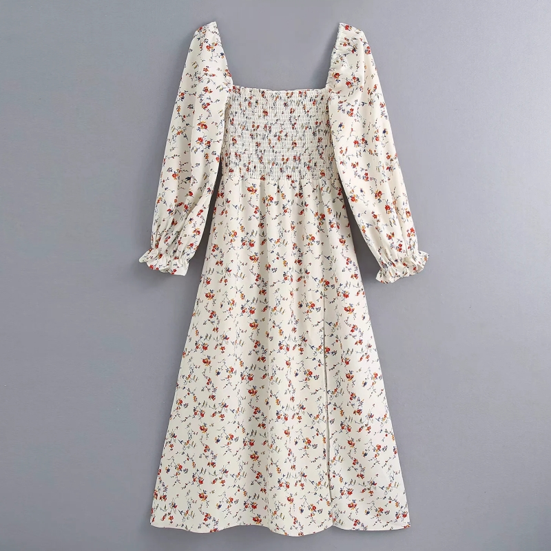 2020 Women Vintage Square Collar Flower Print Split Midi Dress Chic Lady Puff Sleeve Elastic Vestidos Casual Slim Dresses DS3820