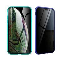 Funda protectora magnética antifisgones de doble cara para iPhone, funda completa de vidrio templado de Metal para iPhone X XR Xs Max 678 Plus