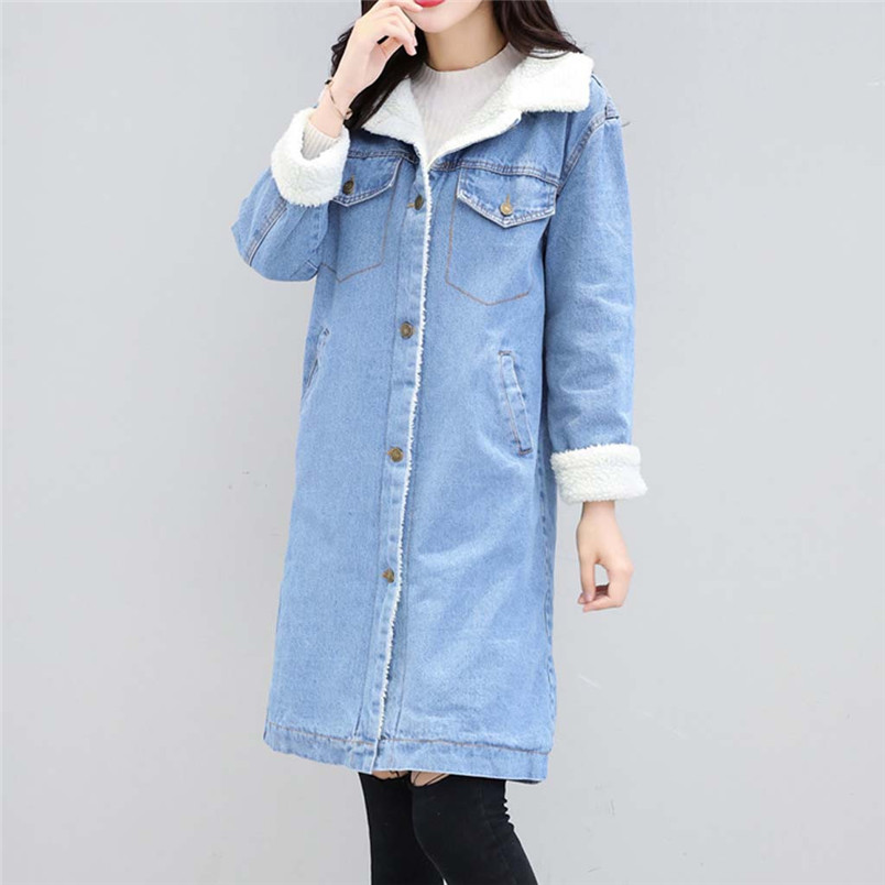 Winter Womens Blue Jean Jacket Thicken Warm Fleece Denim Coat Thickness Long Outwear Fashion Sweet Clothing For Ladies 50LY31 (2)