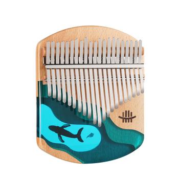 Hluru Kalimba kciuk fortepian 21 klawiszy drewno bukowe kciuk palec fortepian przenośny Instrument muzyczny niebieski Ocean wieloryb dla dzieci tanie i dobre opinie CN (pochodzenie)
