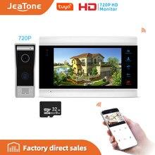 Jeatone intercomunicadores de vídeo de 7 polegadas, sistema de segurança residencial, campainha, telefone da porta, multi-idioma, controle remoto de suporte