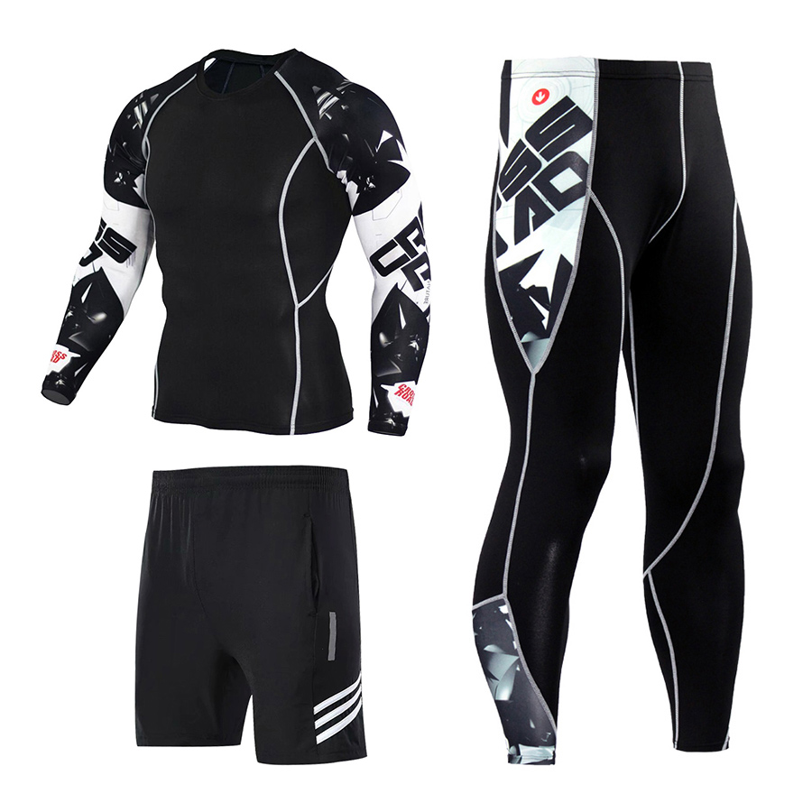 3pcs / Set Workout Male Sport Suit Gym Compression Clothes Fitness Running Jogging Sport Wear Exercise Workout Tights