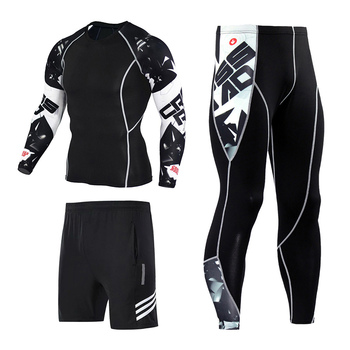 3pcs / set Workout Male Sport Suit Gym Compression Clothes Fitness Running Jogging Sport Wear Exercise Workout Tights 3pcs set men s gym workout sports suit fitness compression clothes running jogging sport wear exercise workout tights