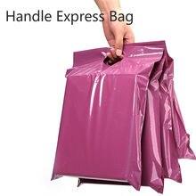 새로운 50 개/몫 토트 백 익스프레스 가방 셀프 씰 접착제 두꺼운 방수 택배 가방 플라스틱 폴리 봉투 핸들 메일 링 가방