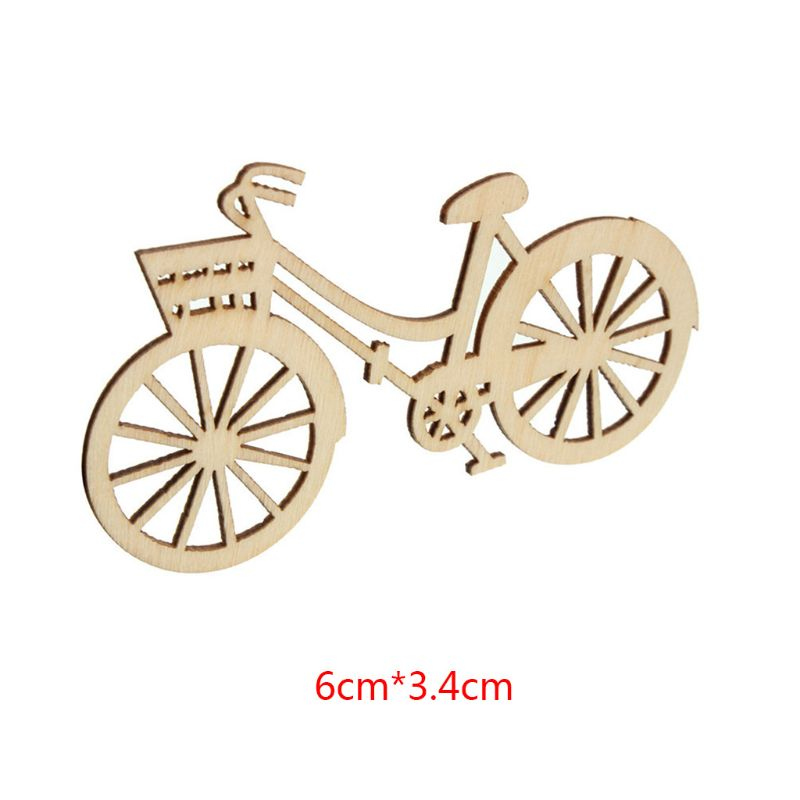 20pcs Wooden Bicycle Bike Cutout Veneers Slices DIY Crafting Ornament for Christmas Wedding Engagement Festival Theme Party