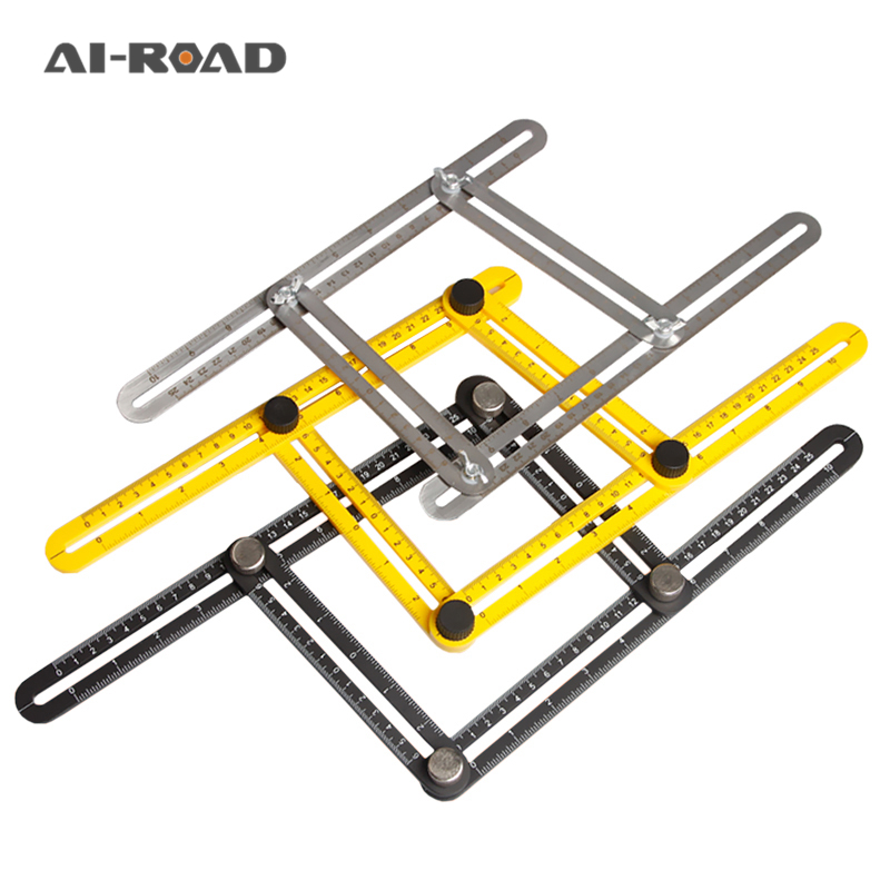 Multi Function Professional Template Tool Angle Measuring Protractor Multi-Angle Ruler Builders Craftsmen Engineers Layout Tool