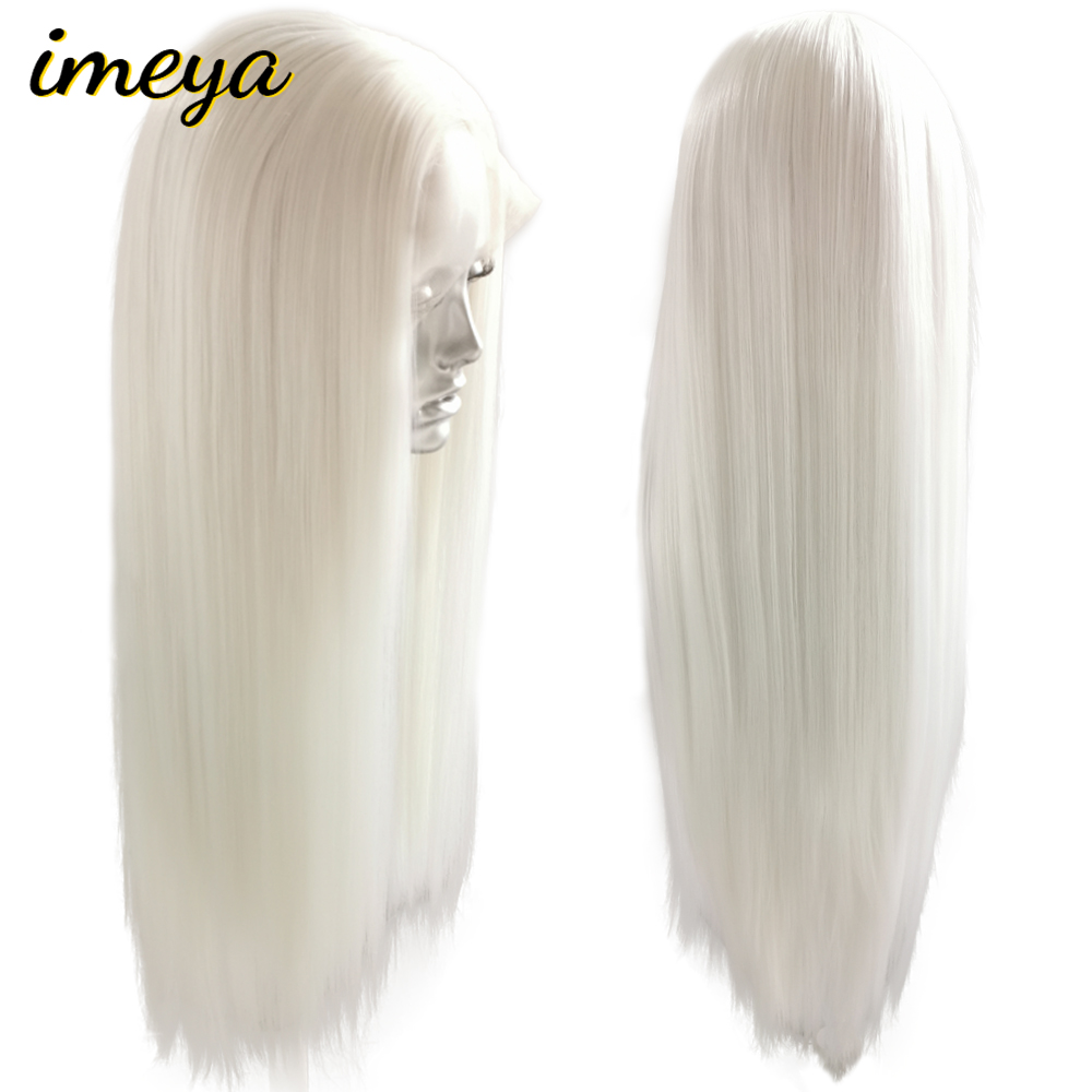 FANXITON Synthetic Lace Front Wig Straight Synthetic Wig Long Lace Front Wigs For Women White Wig High Temperature Fiber