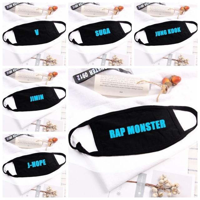 Hip Hop Luminous Letters Mouth Face Mask Dustproof  Kpop V Suga Jimin Name  Bangtan Boys Black Masks Fans Gift Night Light