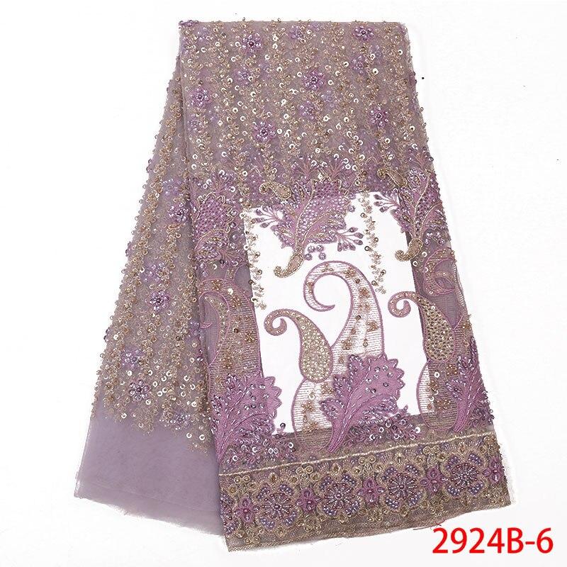 5 Yard/lot nouvelle européenne lourde dentelle tissu robe maille perles brodées tissus accessoires QF2924B-6