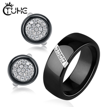 8mm Women Men Finger Rings And Stud Earrings Jewelry Sets Never Fade Healthy Ceramic Material  Bling Rhinestone