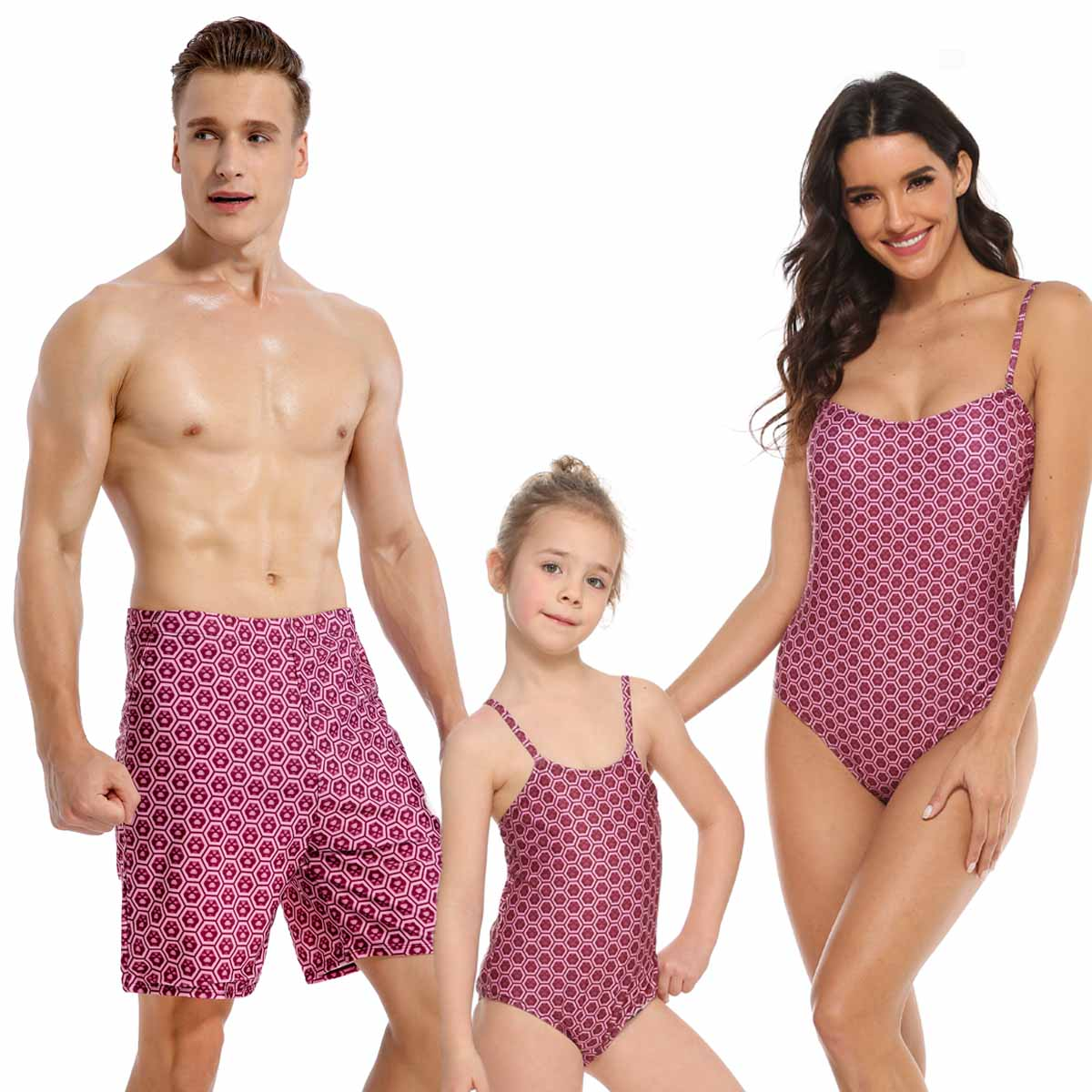 Family Swimwear Mother Daughter Matching Swimsuits Mommy Dad And Me Bath Suits Clothes Outfits Look Father Son Swimming Trunks