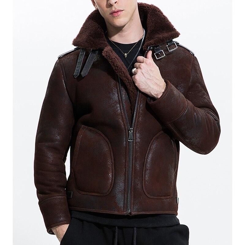 2019 Fashion Men's Airforce Pilot Coat Genuine Sheepskin Leather Shearling Wool Motorcycle Jackets Brown Black 2xl 3xl 4xl 5xl