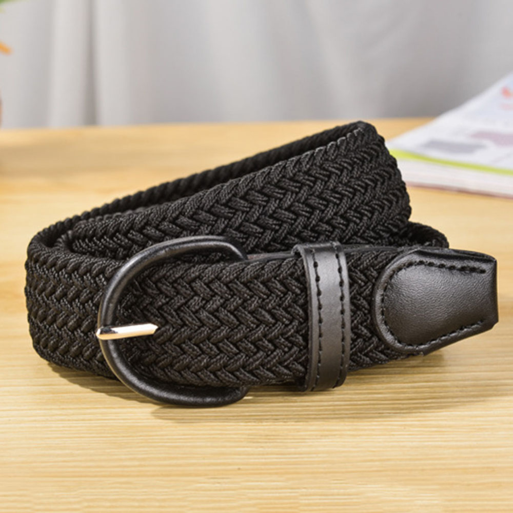 Unisex Stretch Elastic Woven Canvas Cotton Leather Pin Buckle Waist Belt Band US