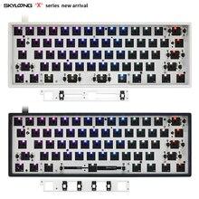Механическая клавиатура gk61xs gk61, двойной режим, bluetooth 5,0 60%, переключатель rgb, горячая замена светодиодов, разъем type c pcb, чехол, разделенная клав...