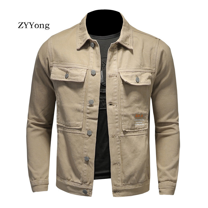 ZYYong Workwear Multi Pocket Men's Jacket Denim Jacket Casual Denim Men's Jacket Cotton Lapel Long Sleeve Men's Denim Jacket
