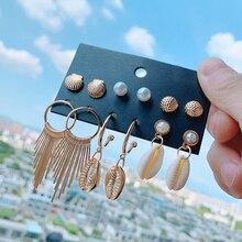 Luokey Bohemian Shell Dangle Earrings For Women Hawaii Style Metal Tassel Cowrie Conch Vintage Jewelry Brincos